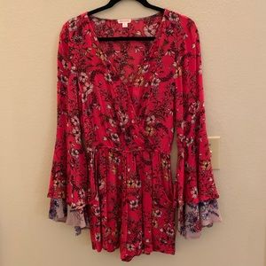 Bell Sleeve Red Floral Romper